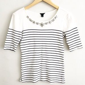 Ann Taylor Navy Striped Jeweled Necklace T-Shirt